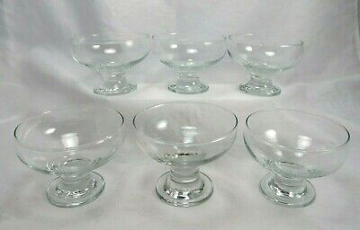 Simple Clear Glass Footed Dessert Fruit Sherbet Bowl Dishes Thick Stem Set of  6