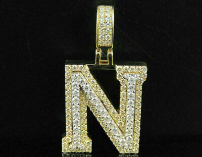 2.70ct Diamonds 'N' Initial Custom 3D Letter Charm Pendant 14kt Yellow Gold Over