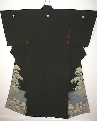 1920s SUPERB JAPANESE VINTAGE SILK HAND PAINTED PICTORIAL TOMESODE KIMONO Ducks