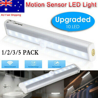 Rechargeable 10 LED Night Light PIR Motion Sensor Wardrobe Cabinet Lamp Magnetic