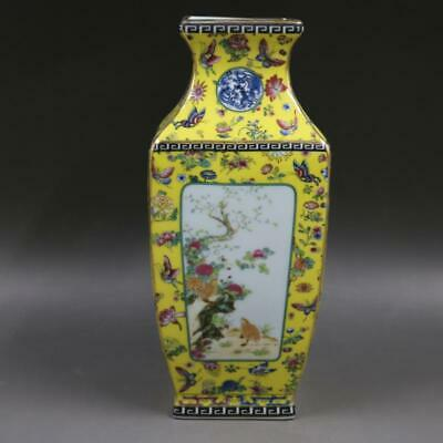 Chinese ancient antique hand make Flower and Bird Square vase m36
