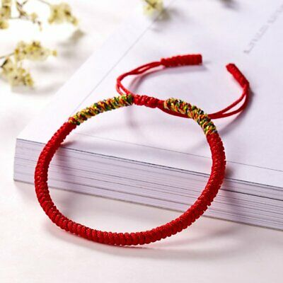 Women Men Tibetan Buddhist Love Lucky Bracelets Handmade Knot Rope Bangles Red