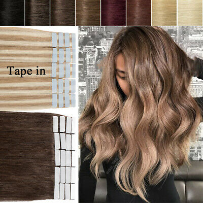 8A Tape in Remy Human Hair Extensions Thick Seamless Skin Weft Mix Color AU W15