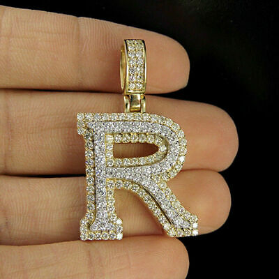 2.90ct Diamonds 'R' Initial Custom 3D Letter Charm Pendant 14kt Yellow Gold Over
