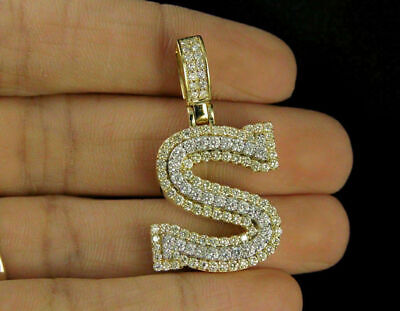 2.80ct Diamonds 'S' Initial Custom 3D Letter Charm Pendant 14kt Yellow Gold Over
