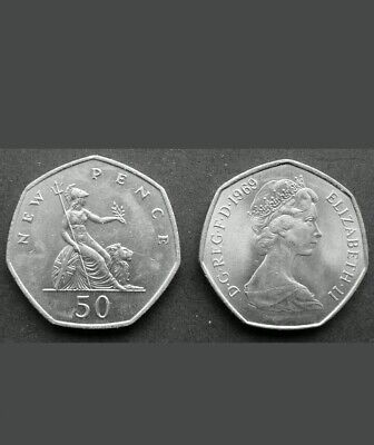 50 Pence Coin UK Large Type Decimal Large 50p Fifty Choice of Date 1969.