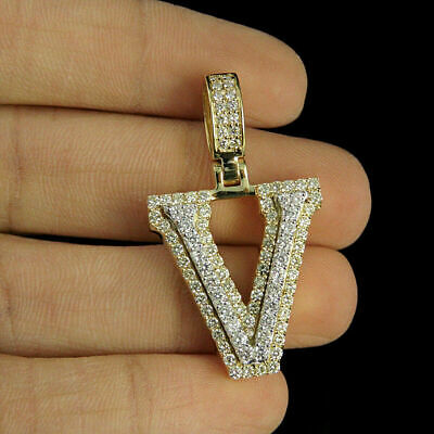 2.80ct Diamonds 'V' Initial Custom 3D Letter Charm Pendant 14kt Yellow Gold Over