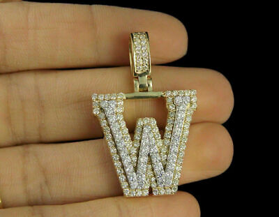 2.70ct Diamonds 'W' Initial Custom 3D Letter Charm Pendant 14kt Yellow Gold Over