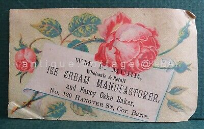 1880 antique victorian ICE CREAM MANUFACTURER MURR baltimore md advertising card