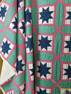 Wonderful Vintage 20s Indigo Blue Stars in a Garden Maze QUILT 72x65