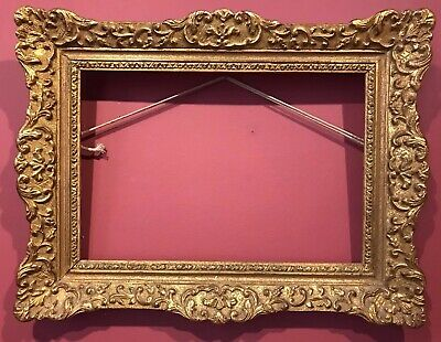FINE FRENCH GILT SWEPT PICTURE FRAME - ORNATE MOULDINGS - 9.5 x 14 INCH PICTURE