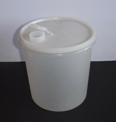 Vtg Tupperware Jumbo Canister 20 Cup Tall Round Sheer/Clear Sugar Flour Storage