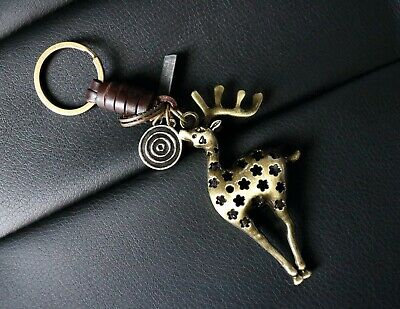 AuPra Deer Keyring  | Leather Vintage Animal Keychain | Key Ring Stag Gifts