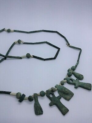 NILE  Ancient Egyptian Faience Mummy Beads with 5 Amulets Necklace