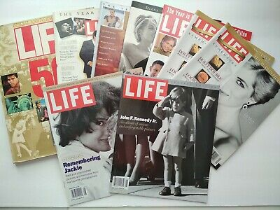 Big lot of 9 1980s and 1990s LIFE magazines - Kennedy Jr., Diana, Jackie, 50 yrs