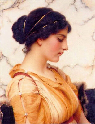 Dream-art Oil painting john william godward - beautiful young girl beauty seated