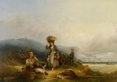 Dream-art Oil painting William Shayer - fisherfolk and their catch by the sea