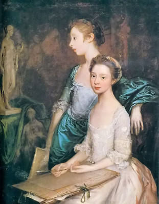 """Oil painting thomas gainsborough - Portrait of the artists' daughters girls 36"""""""