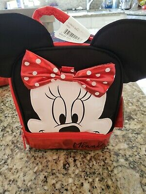 Disney Minnie Mouse Kid's Insulated Red/black Lunch Bag With Ears Hair Bow Nwt