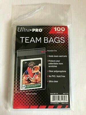 Ultra Pro Team Bags x100 Per Pack Sleeve Series Resealable Strip GREAT for cards