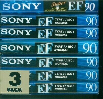 7 x Sony EF90 Cassette Tapes ~ Factory Sealed