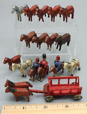 16 Antique Putz Erzebirge Miniature Hand Painted Carved Wood Horses Riders Wagon