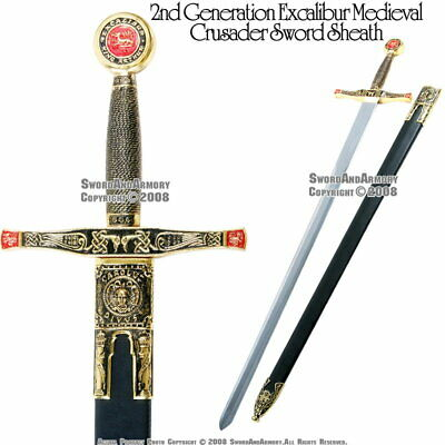 "40.5"" Gold King Excalibur Medieval Crusader Knight Sword with Scabbard"