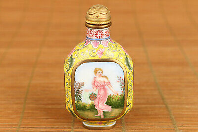 Antique Rare chinese old cloisonne belle statue snuff bottle noble gift