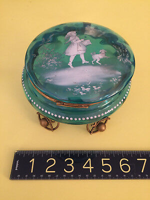 Antique Victorian Enamel Turquoise Blue Glass Ormolu mounted MARY GREGORY CASKET