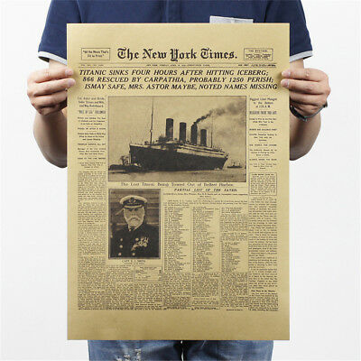 new york time kraft paper bar poster retro historical moment poster wall#stic le