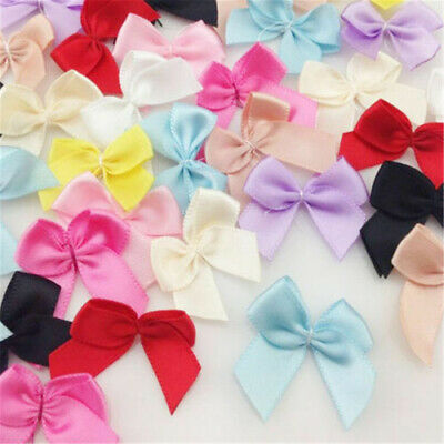 Lots 50pcs Mini Silk Satin Ribbon Flowers Bows Gift Craft Wedding Decoration DIY