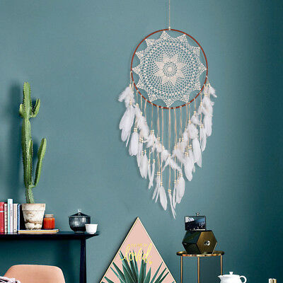 Handmade Decor Lace Dream Catcher Feather Bead Hanging Home DIY Decoration CO