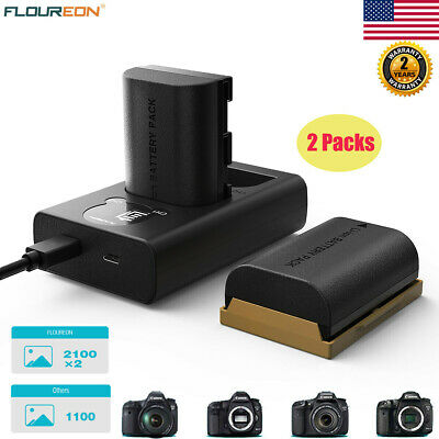 2x 2100mAh LP-E6 LPE6 Battery Dual Charger For Canon 5D 6D 7D 60D Mark II III IV