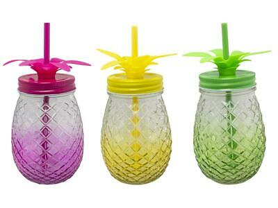 Set of 3 Glass Pineapple Shape 500ml Cocktail Tumbler with Metal Lid & Straw
