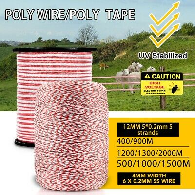 Multi Polytape Polywire Roll Electric Fence Energiser Stainless Steel Insulator