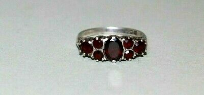 Vintage / Antique Sterling Silver Bohemian Garnets Ring. Size O.