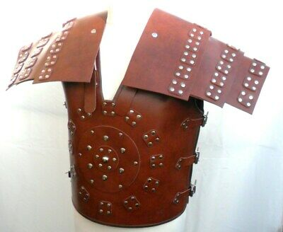 HAND MADE Mans Mens REAL BROWN LEATHER SAMURAI ROMAN GLADIATOR ARMOUR ARMOR