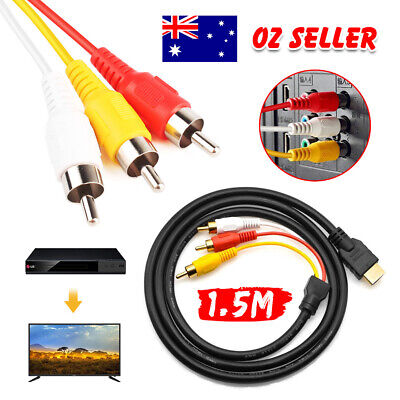 AU HDMI to RCA RGB Video AV 3RCA Audio Adapter Cable for HDTV DVD Player