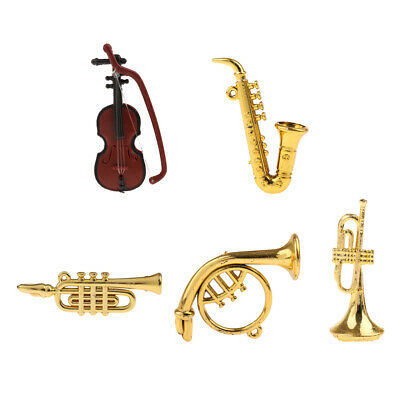 Dolls House Miniature Violin Saxophone Sax French Horn Musical Instrument 1:12th