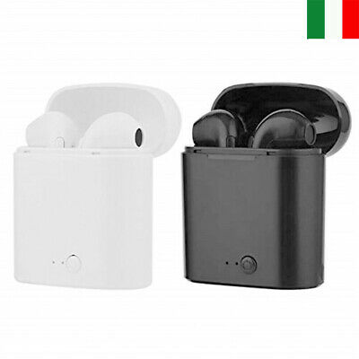 Coppia Auricolari Bluetooth Cuffie Android Sport Wireless Senza Fili Micphone