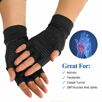 Copper Compression Arthritis Gloves Hand Wrist Support Carpal Tunnel Pain Relief