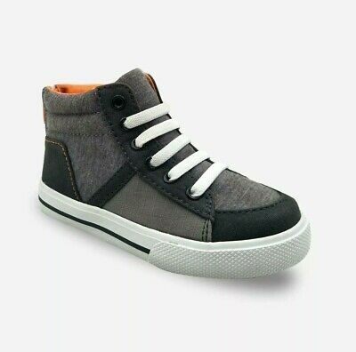 Toddler Boys High Top Sneakers Size 6 Cat & Jack Gray Black Orange Zipper Back