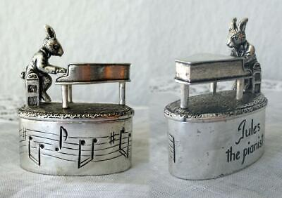 Silberne Dose - Hase Am Flügel - Jules The Pianist - Silver Plated