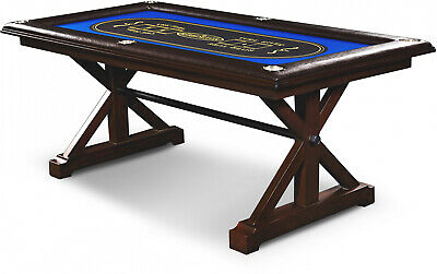 Barrington Poker Table Premium Solid Wood 6 Player Game Play Room Casino Card