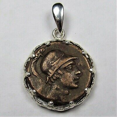 Authentic Ancient Greek Bronze Coin In Sterling Silver Pendant Setting Ares 246