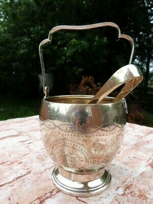 Lovely Ornate Antique Vintage Brass Ice Bucket & Tongs.