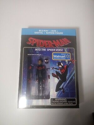 Spider-Man Into The Spider-Verse Walmart Exclusive Blu-Ray DVD + Action Figure