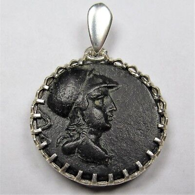 Authentic Ancient Greek Bronze Coin Sterling Silver Pendant Setting Athena #213
