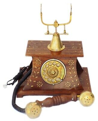 Wooden Brass Vintage Rotary Phone Old Fashioned Telephone French Victorian Style