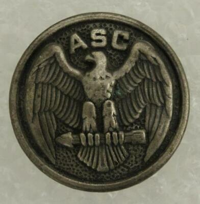 """Vintage US Military WWII ASC Army Service Corps Silver Tone Uniform Button 7/8"""""""